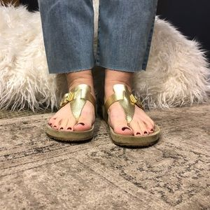 Metallic gold and suede Boho sandals